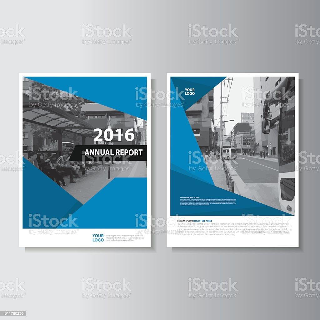 Blue annual report leaflet flyer brochure book cover template design vector art illustration