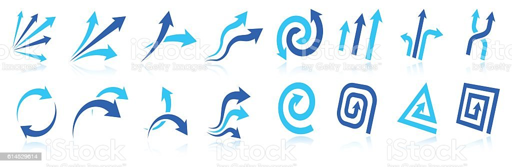 Blue Arrow design elements vector icon collection vector art illustration