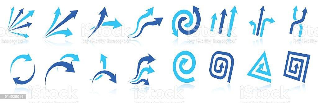 Blue Arrow design elements vector icon collection vector art illustration