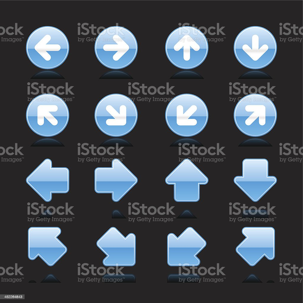 Blue arrow sign white pictogram direction icon navigation button royalty-free stock vector art