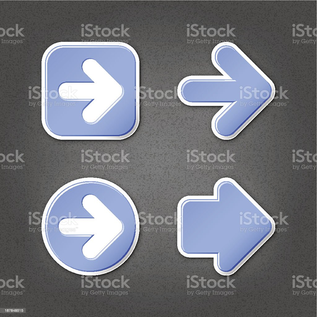 Blue arrow sticker direction label sign internet icon noise texture vector art illustration