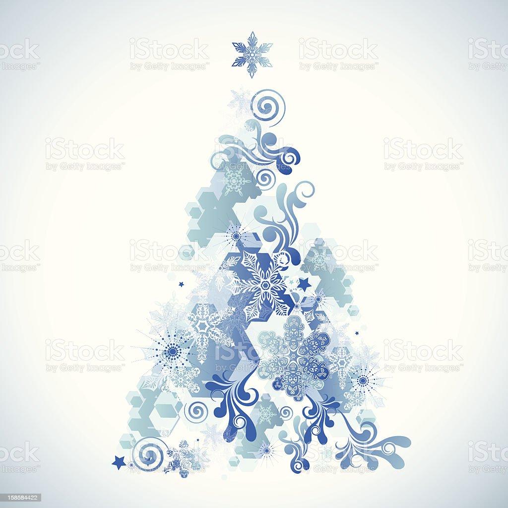 Blue artistic Christmas tree royalty-free stock vector art
