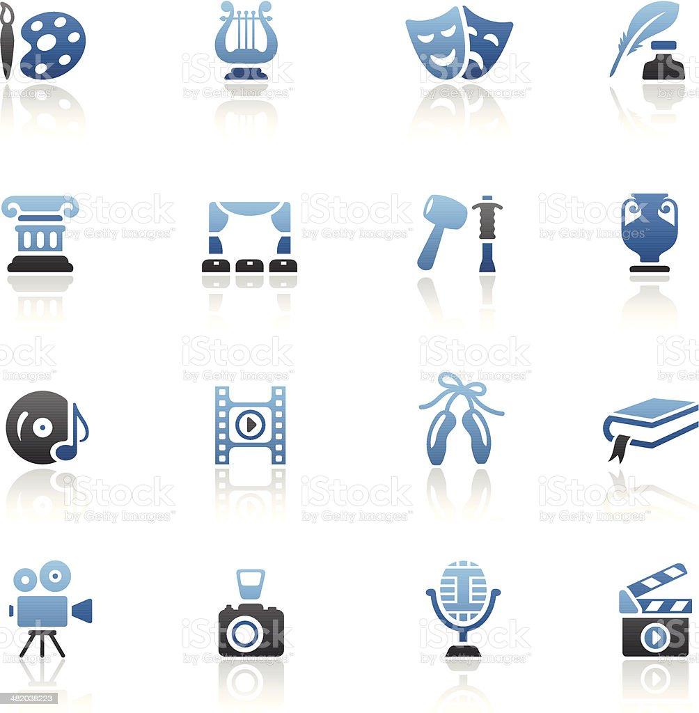 Blue Arts Icon Set vector art illustration