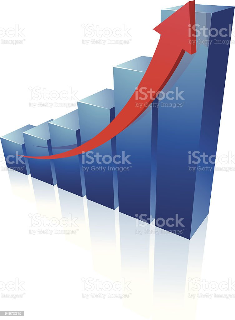 Blue ascending bar graph on white background royalty-free stock vector art