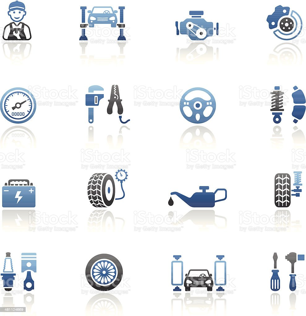 Blue Auto Service Icon Set vector art illustration