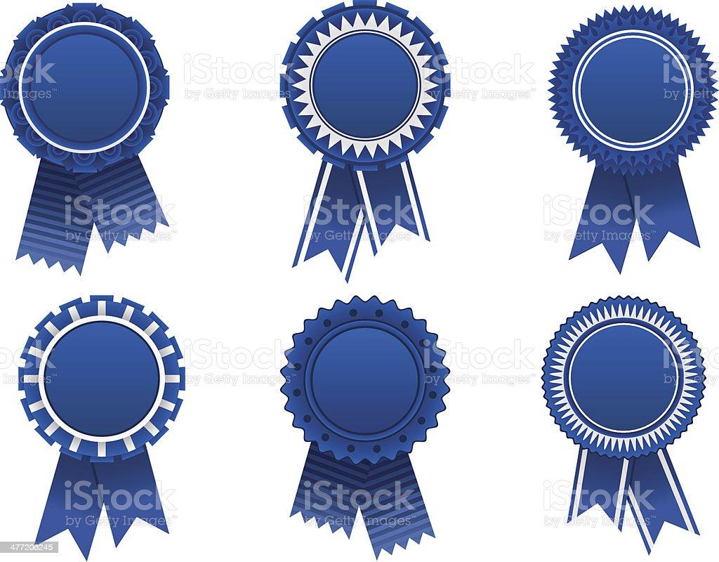 blue award rosette vector art illustration