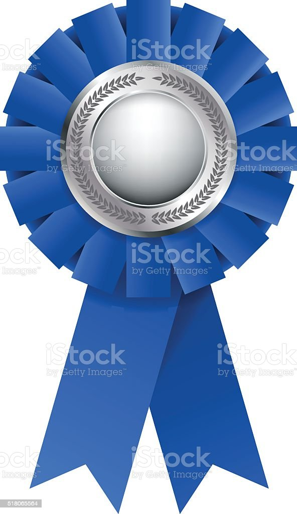 Blue award rosette vector art illustration