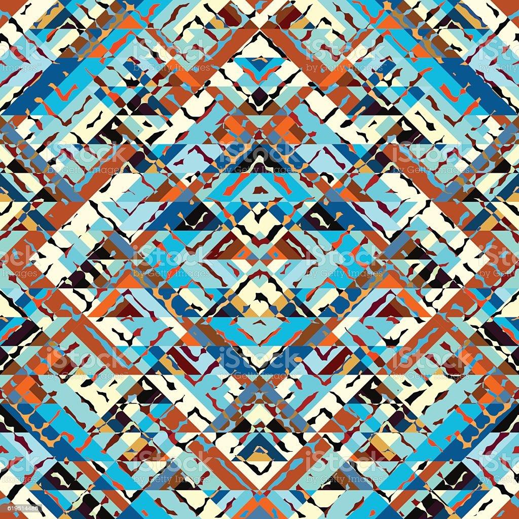 Blue aztecs pattern vector art illustration
