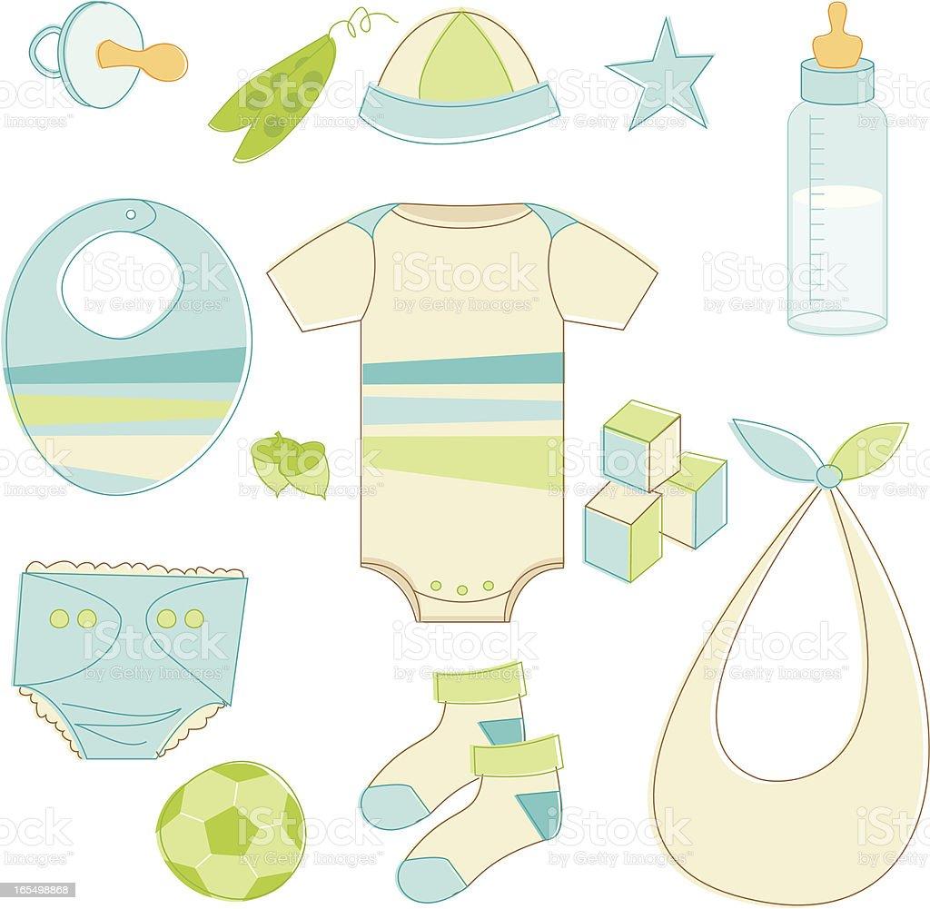 Blue Baby Accessories vector art illustration