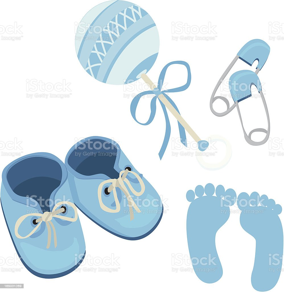 blue baby boy shoes rattle daddy pins and footprints stock