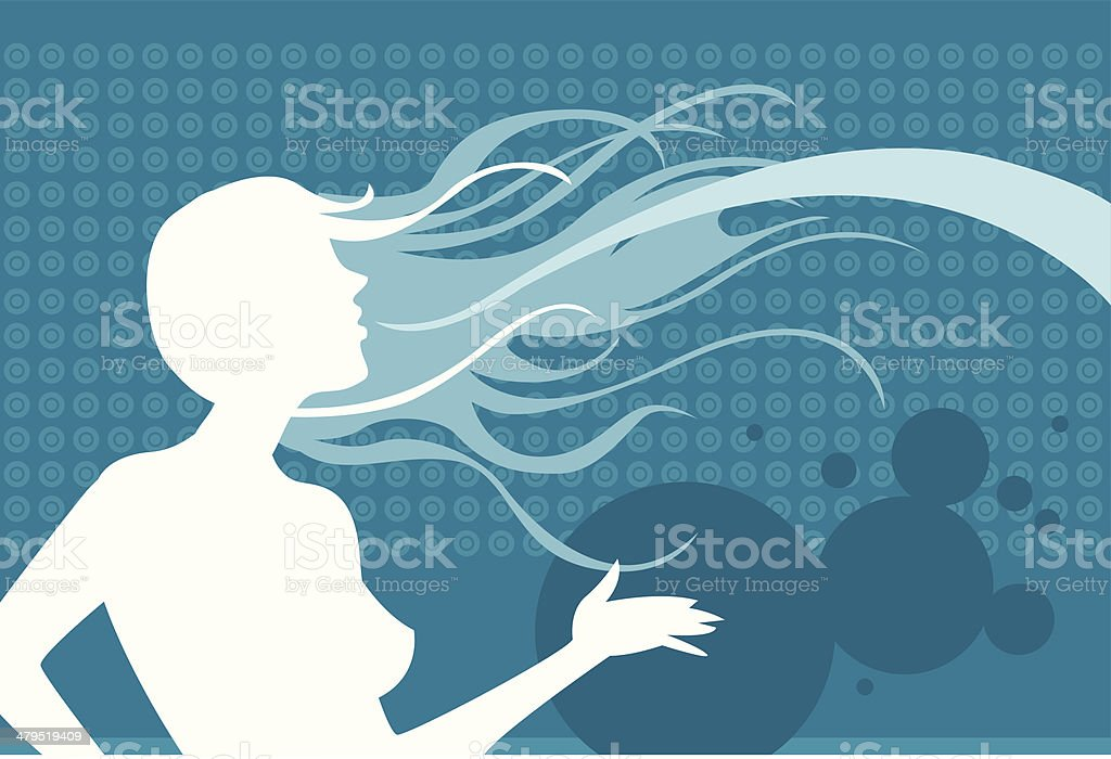 Blue backdrop with silhouette royalty-free stock vector art