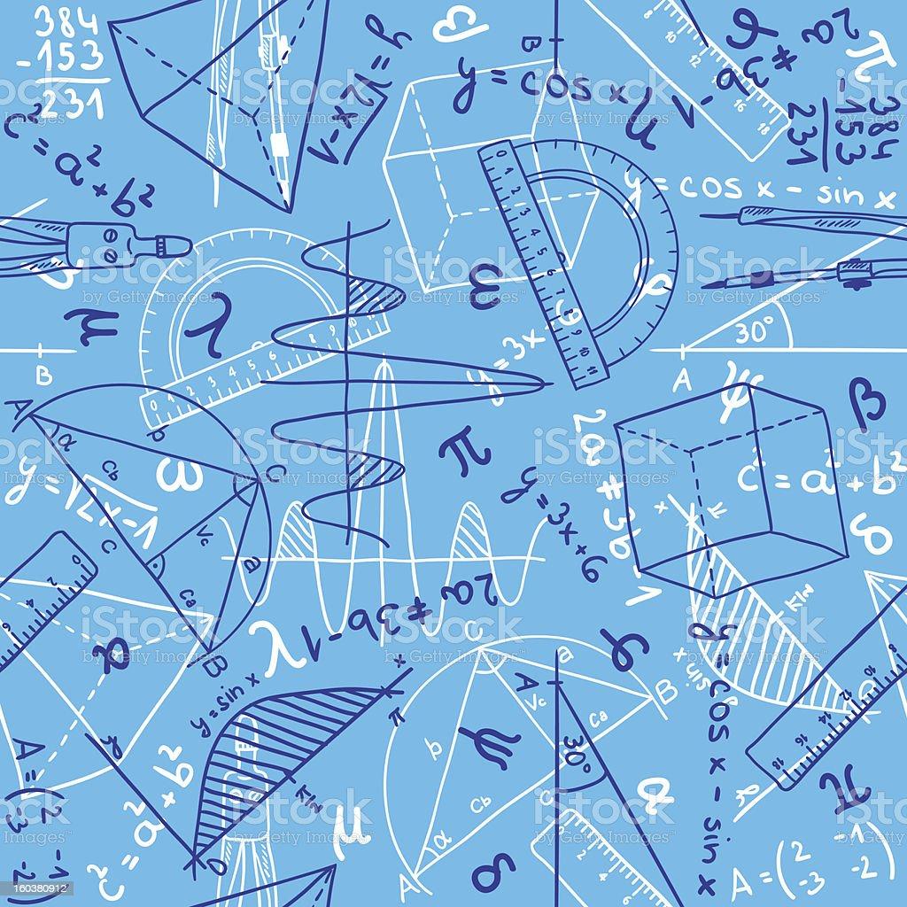 Blue background filled with mathematics symbols vector art illustration