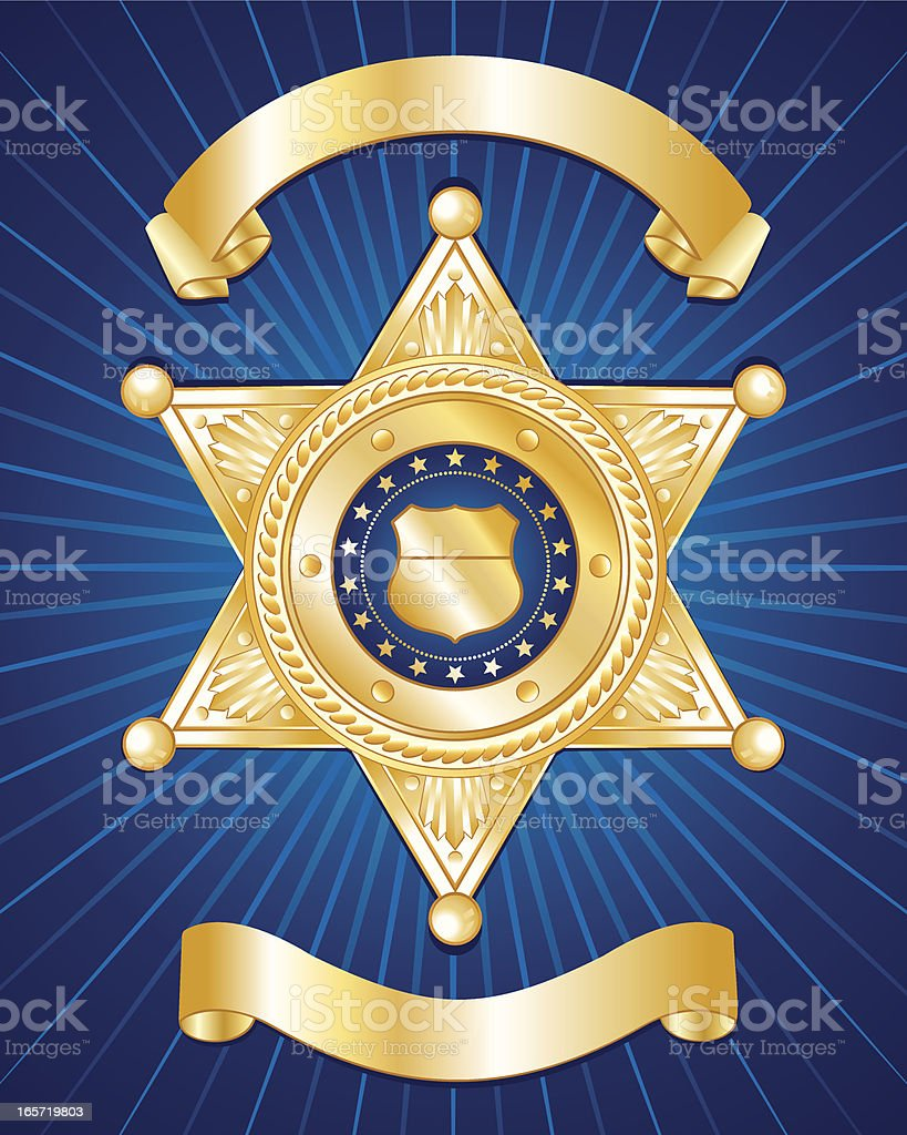 A blue background with a gold police badge vector art illustration