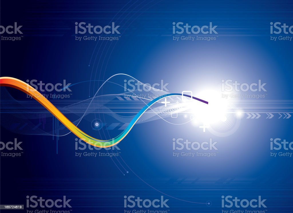 Blue background with abstract wavy lines leading to a light royalty-free stock vector art