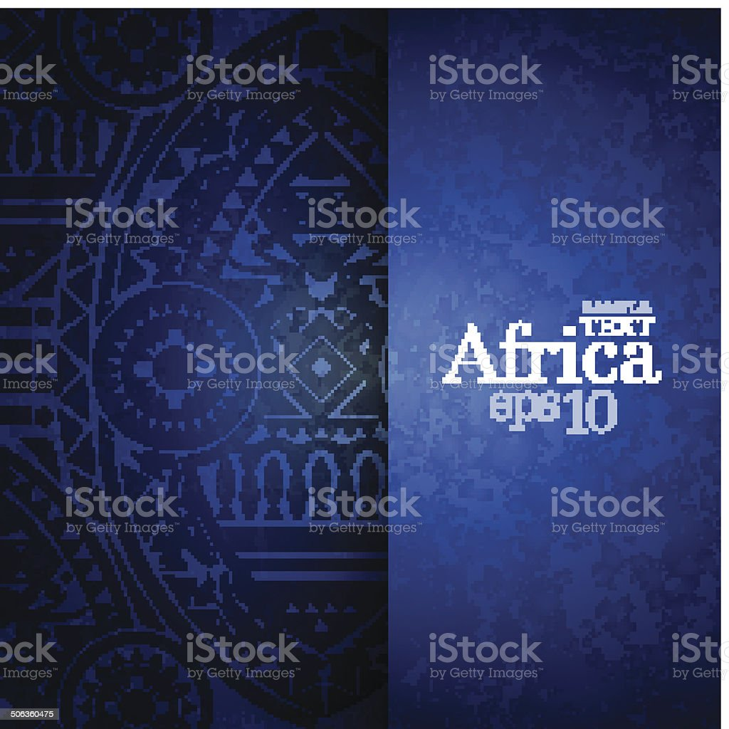 Blue background with African design on left half vector art illustration