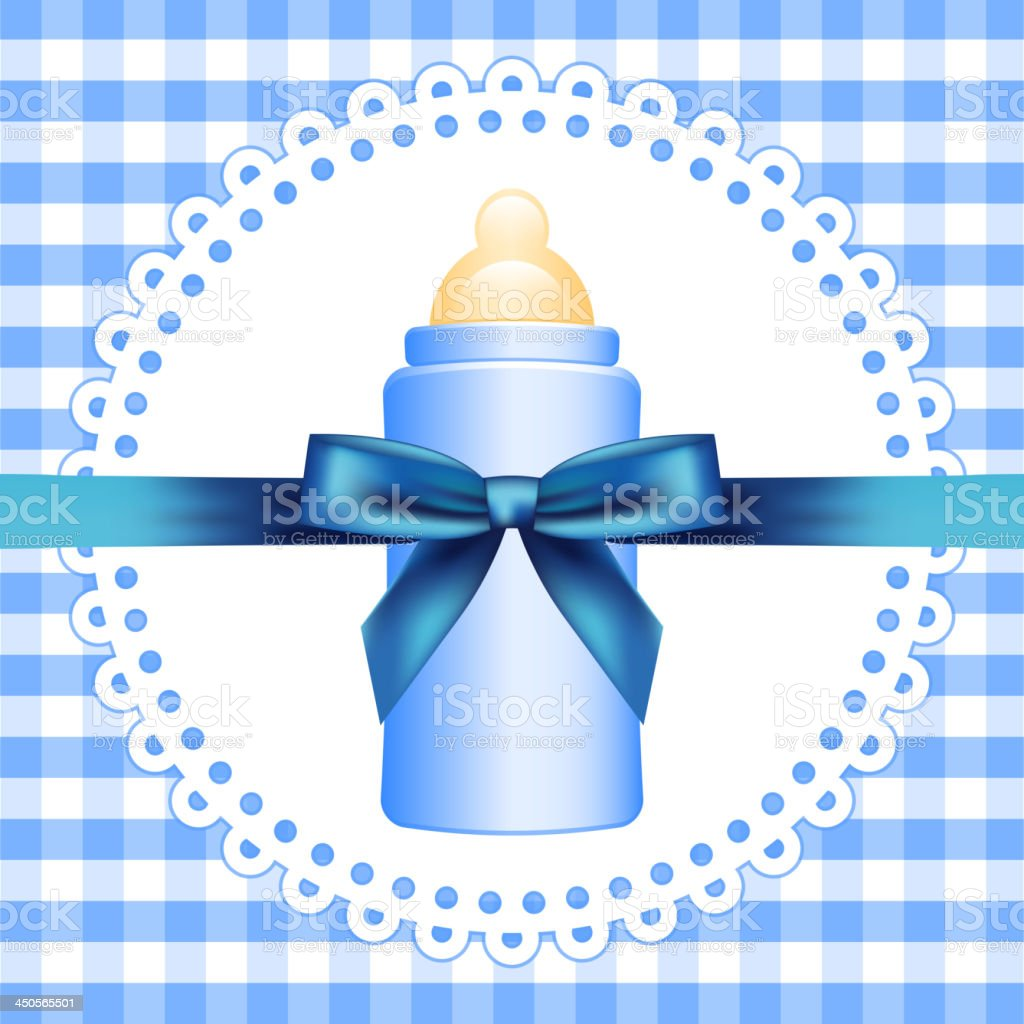 Blue background with baby bottle royalty-free stock vector art