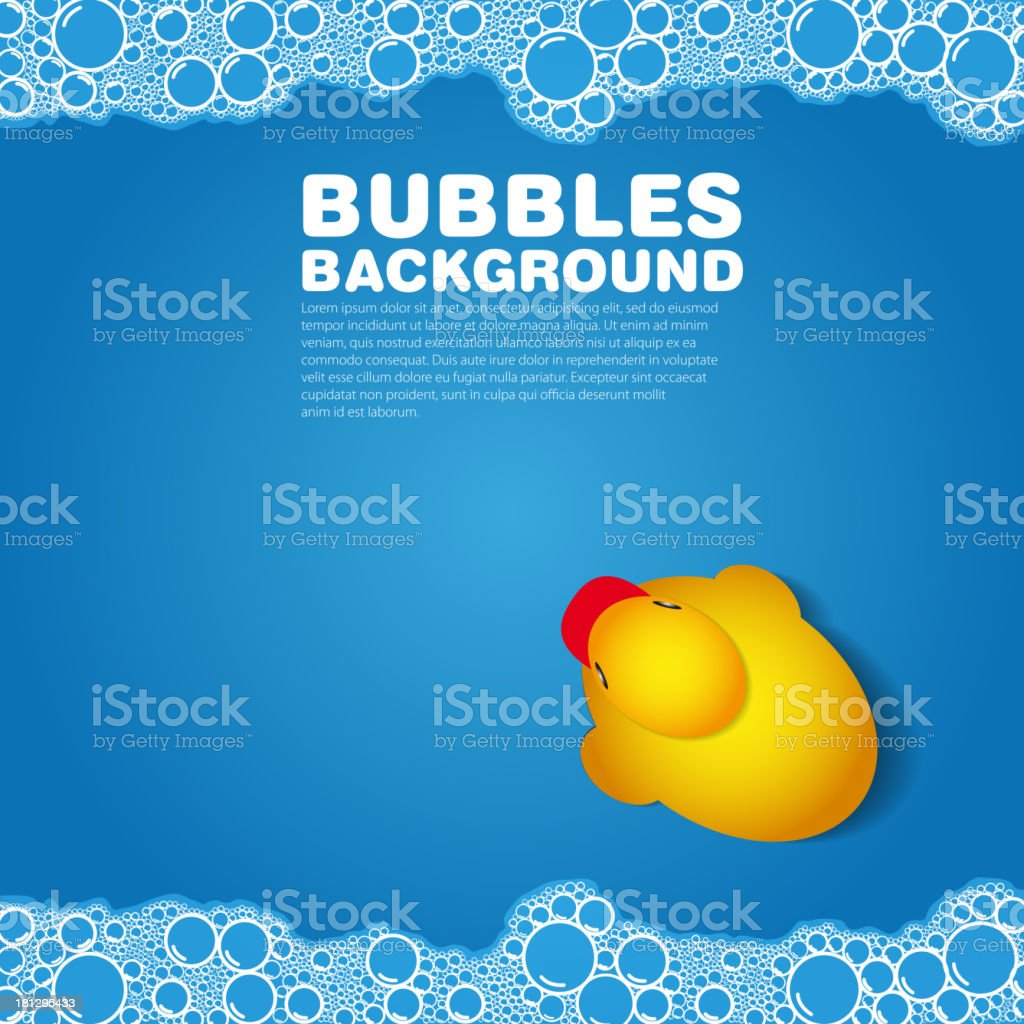 A blue background with bubbles and a rubber duck  vector art illustration