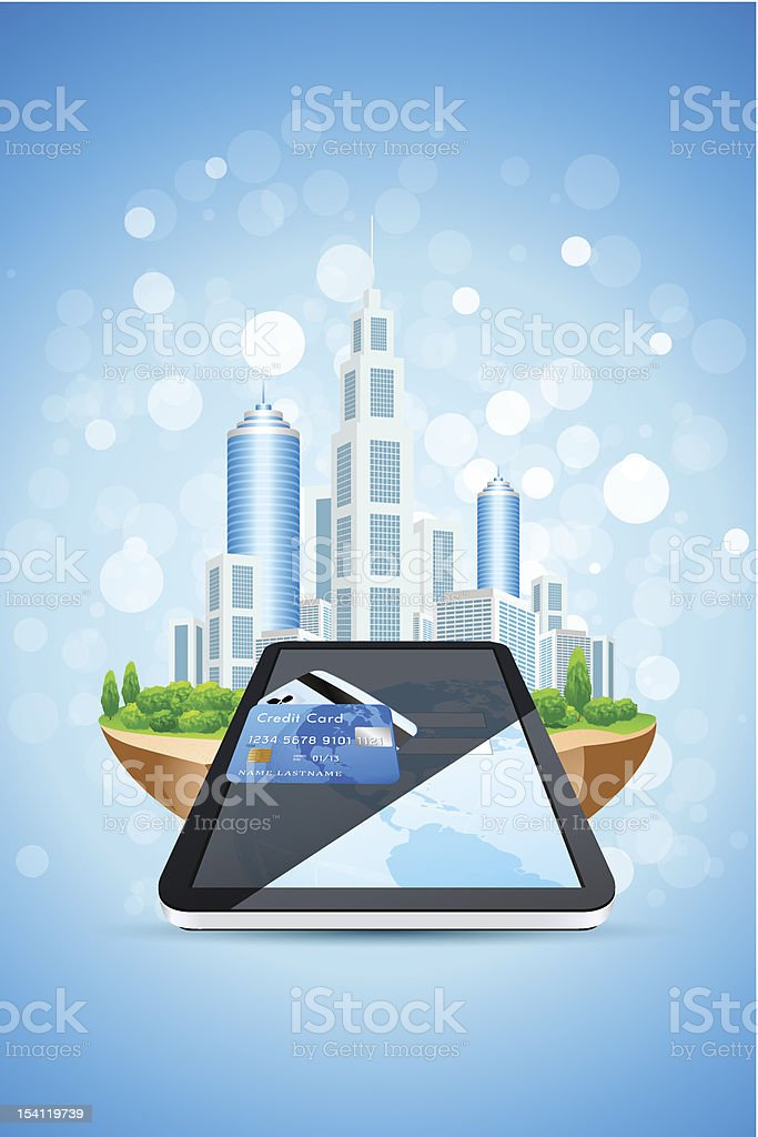 Blue Background with City Island Credit Card and Tablet PC royalty-free stock photo