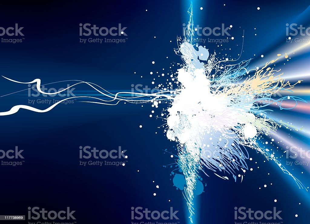 Blue background with colorful electric explosion vector art illustration