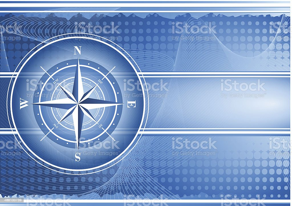 Blue background with compass rose. vector art illustration