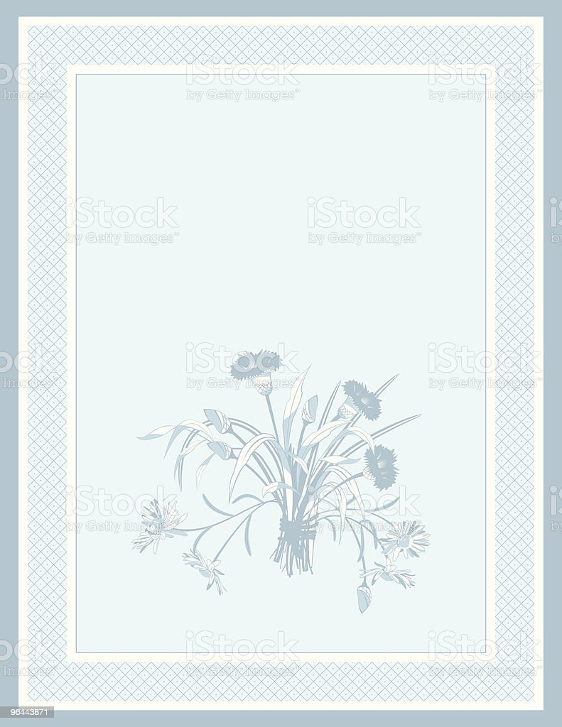 Blue Background with Field Flowers vector art illustration