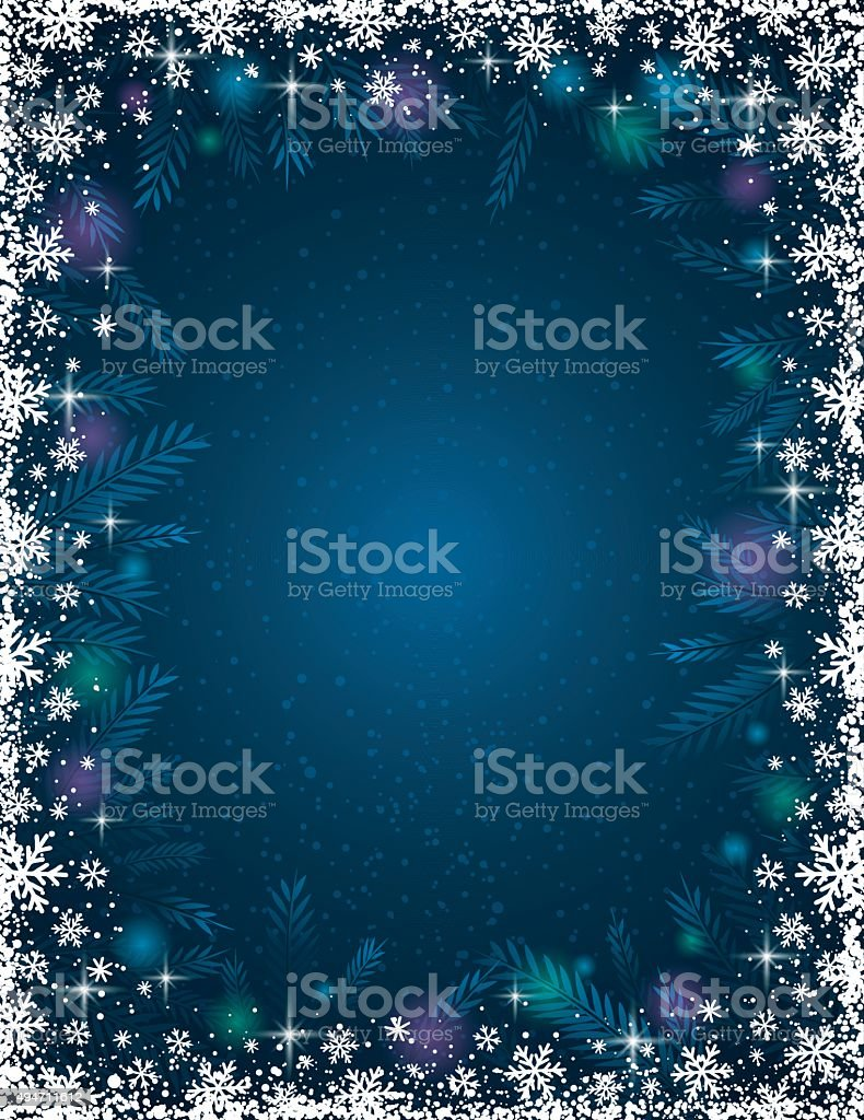 Blue background with  frame of snowflakes,  vector vector art illustration