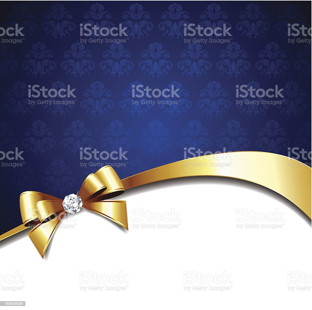 Blue background with gold bow royalty-free stock vector art
