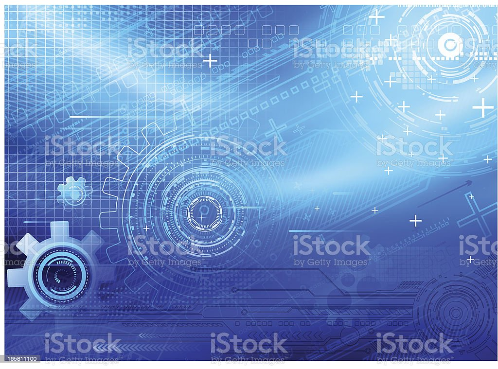 Blue background with grid and gears royalty-free stock vector art