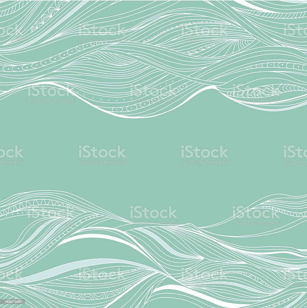 Blue background with line white drawing of waves vector art illustration