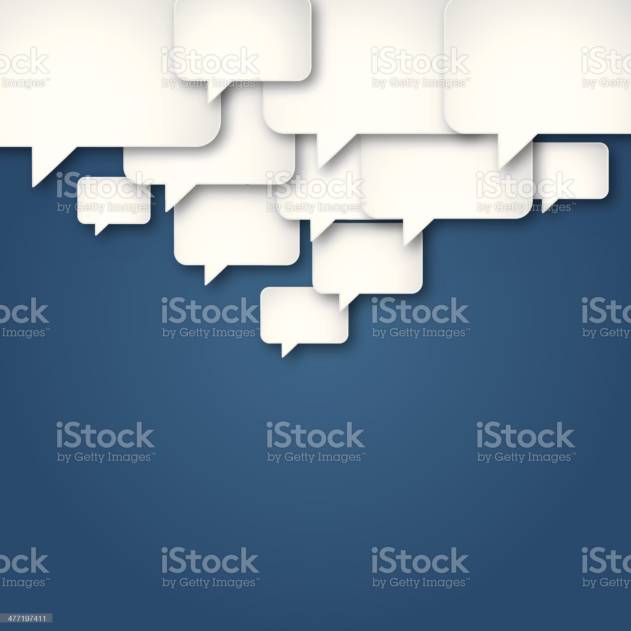 Blue Background with Many Differently Sized Speech Bubbles royalty-free stock vector art