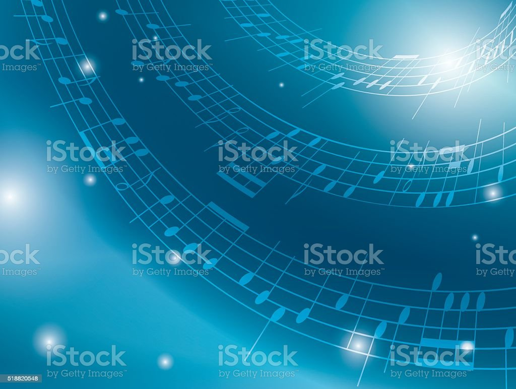 blue background with musical notes - vector vector art illustration