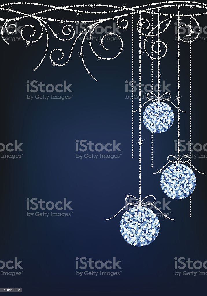 Blue background with sparkly Christmas baubles royalty-free stock vector art