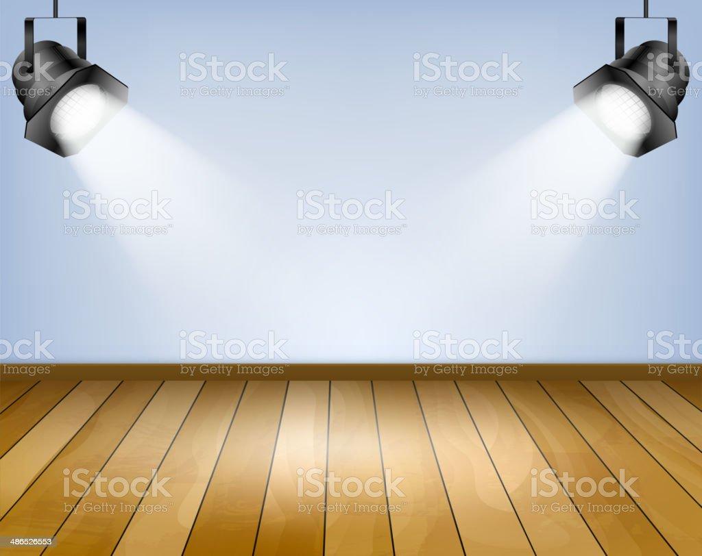 Blue background with spotlights. Studio with wooden floor vector art illustration