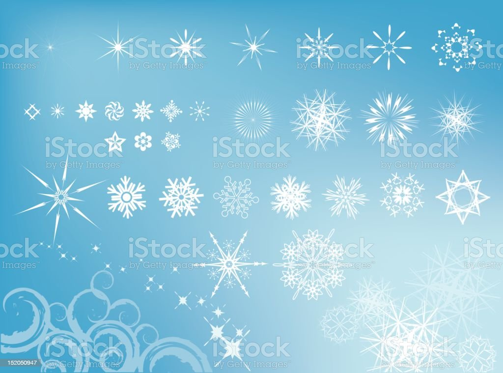 Blue background with various sizes of white snowflakes royalty-free stock vector art