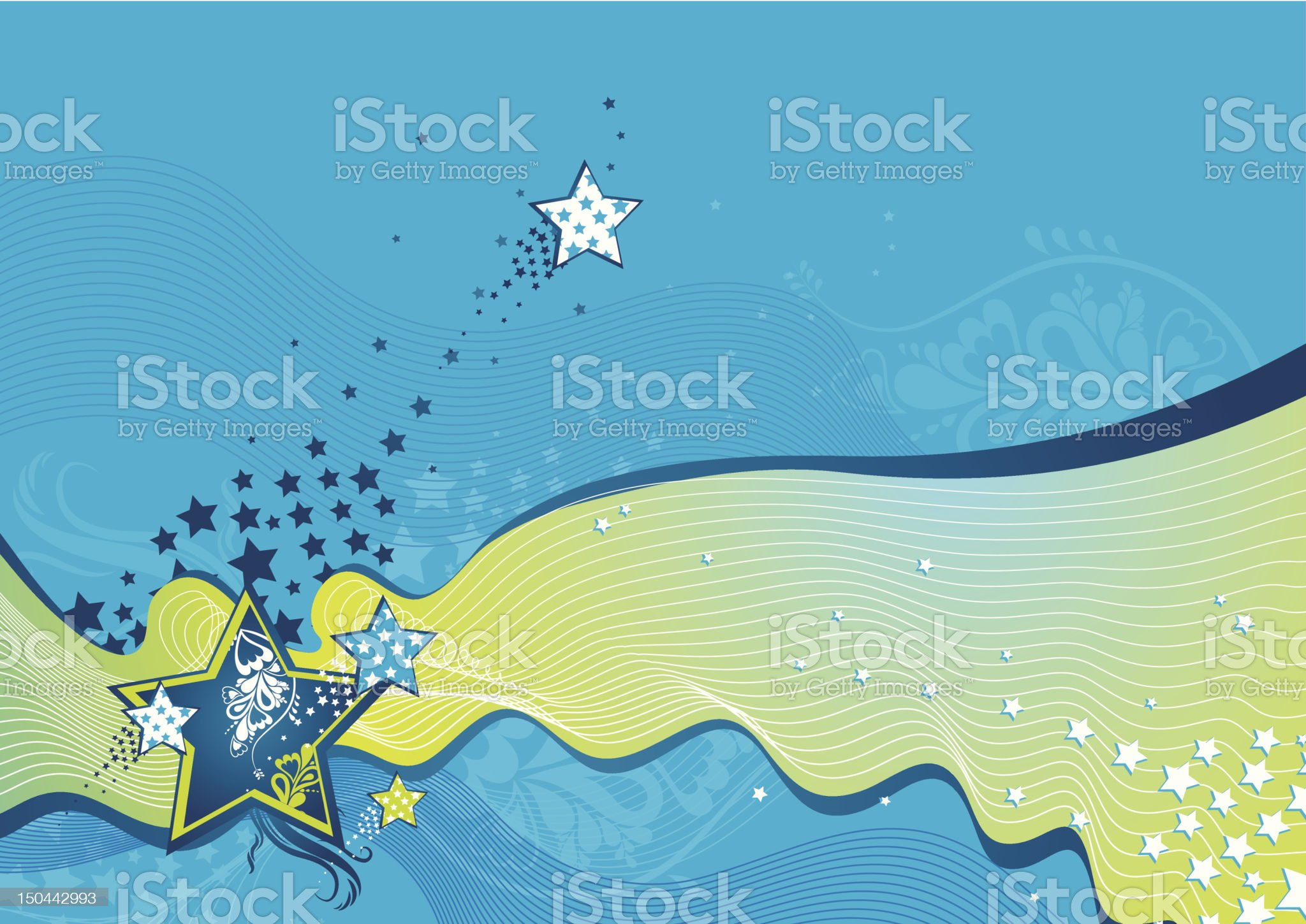 blue background with waves and stars royalty-free stock vector art