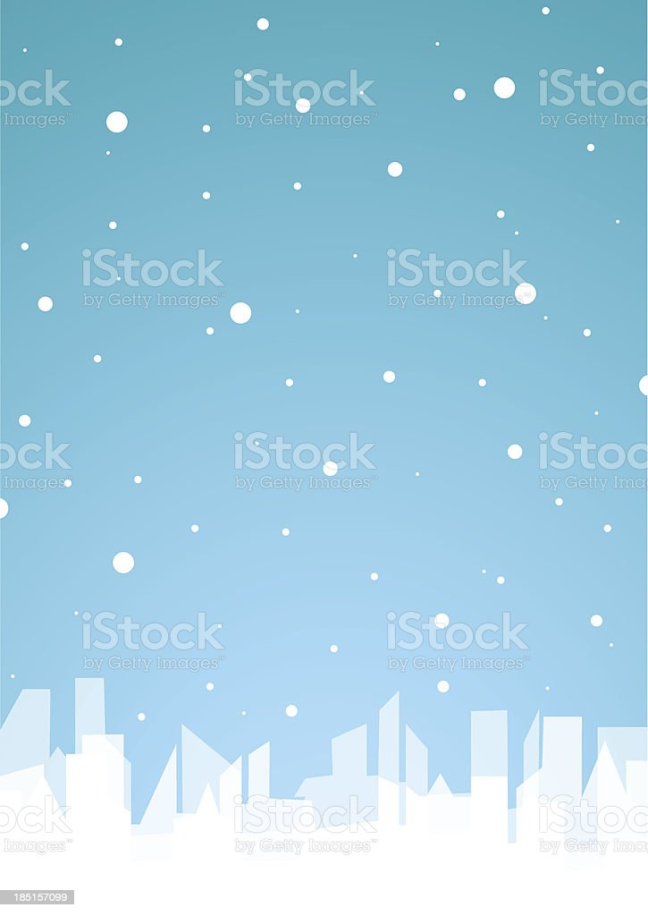 Blue background with white city and snow. royalty-free stock vector art
