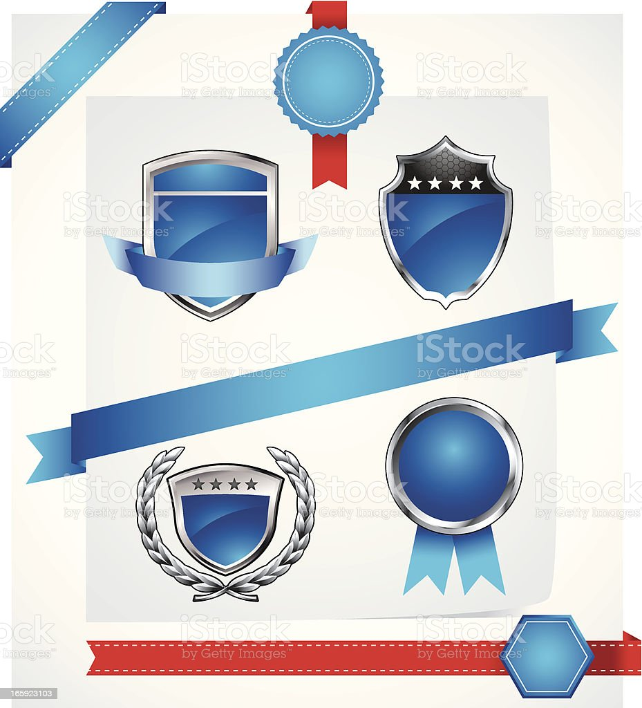 Blue Badges and Ribbons royalty-free stock vector art
