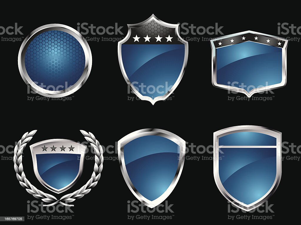 Blue Badges vector art illustration