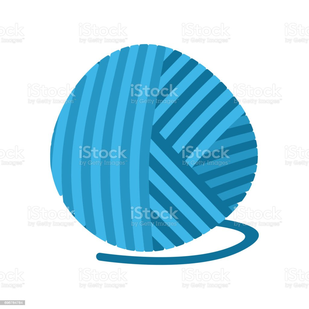 blue ball of yarn Threads. bundle of wool for knitting isolated vector art illustration