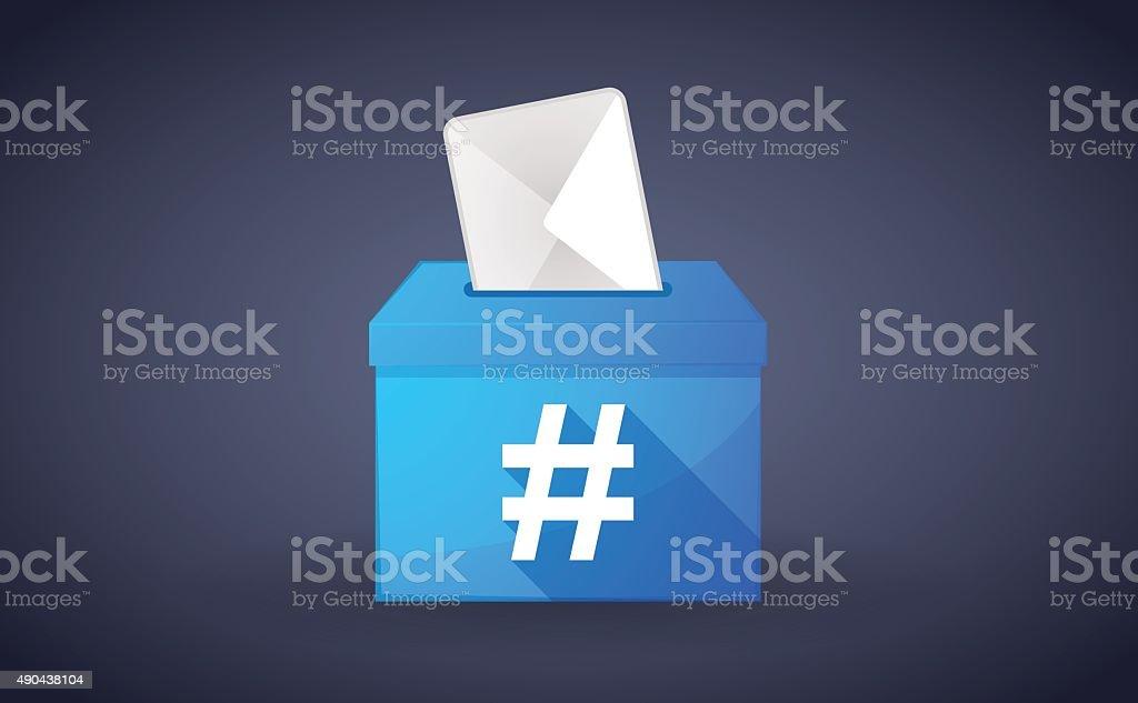Blue ballot box with a hash tag vector art illustration