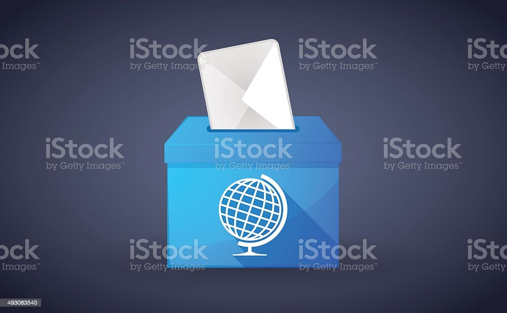 Blue ballot box with a world globe vector art illustration