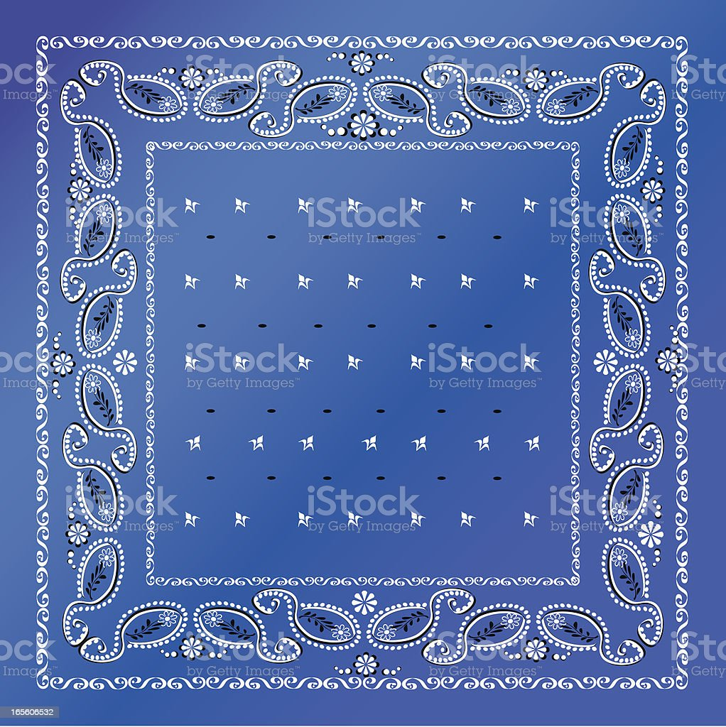 A blue bandana with white frames vector art illustration