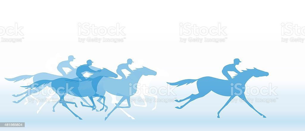 Blue banner with horse racing. Galloping horseback riders. vector art illustration