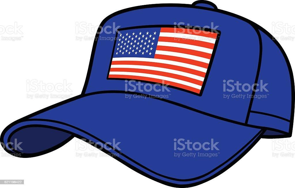 Blue Baseball Cap with US Flag vector art illustration