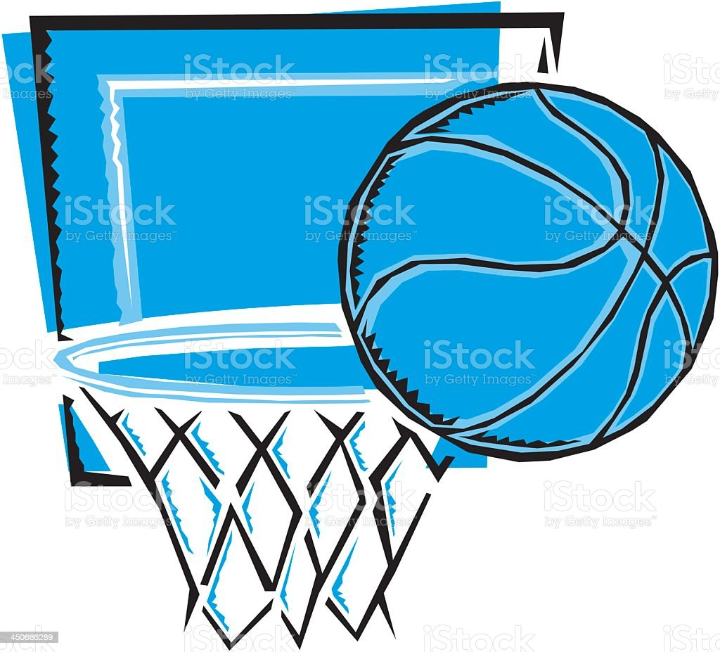 Blue Basketball and Hoop royalty-free stock vector art