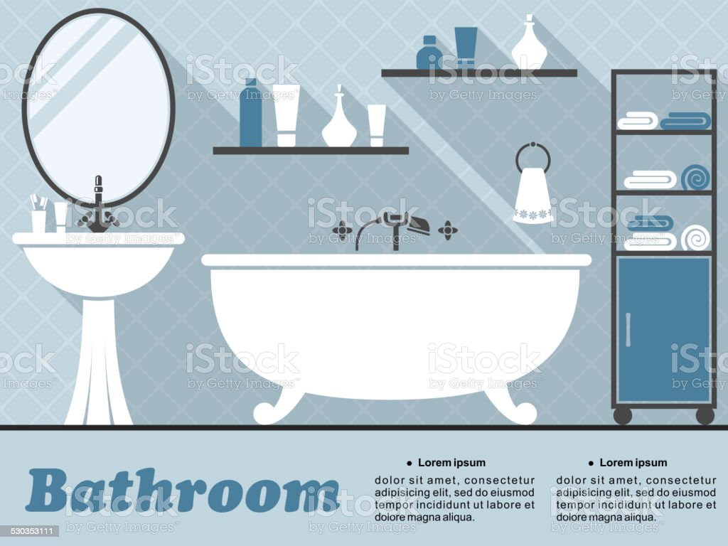 Blue bathroom interior in flat infographic style vector art illustration