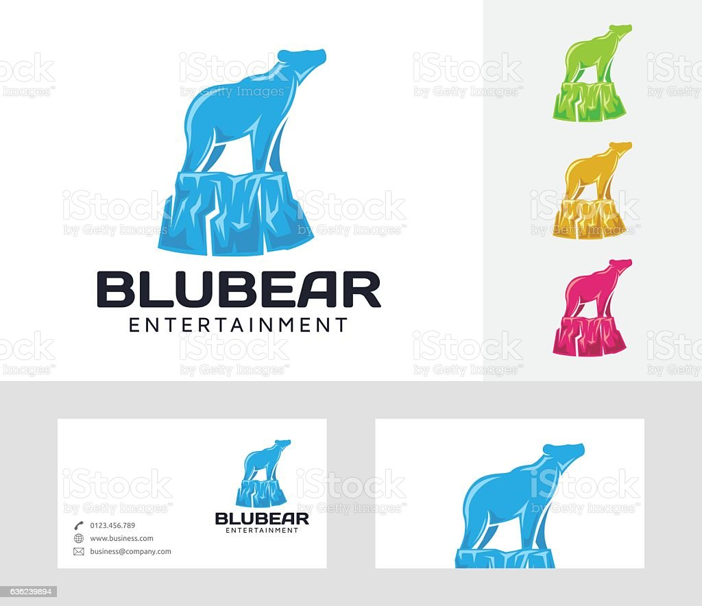 Blue Bear vector logo vector art illustration