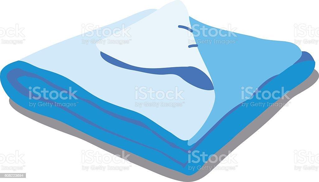 Blue bed linen. vector art illustration
