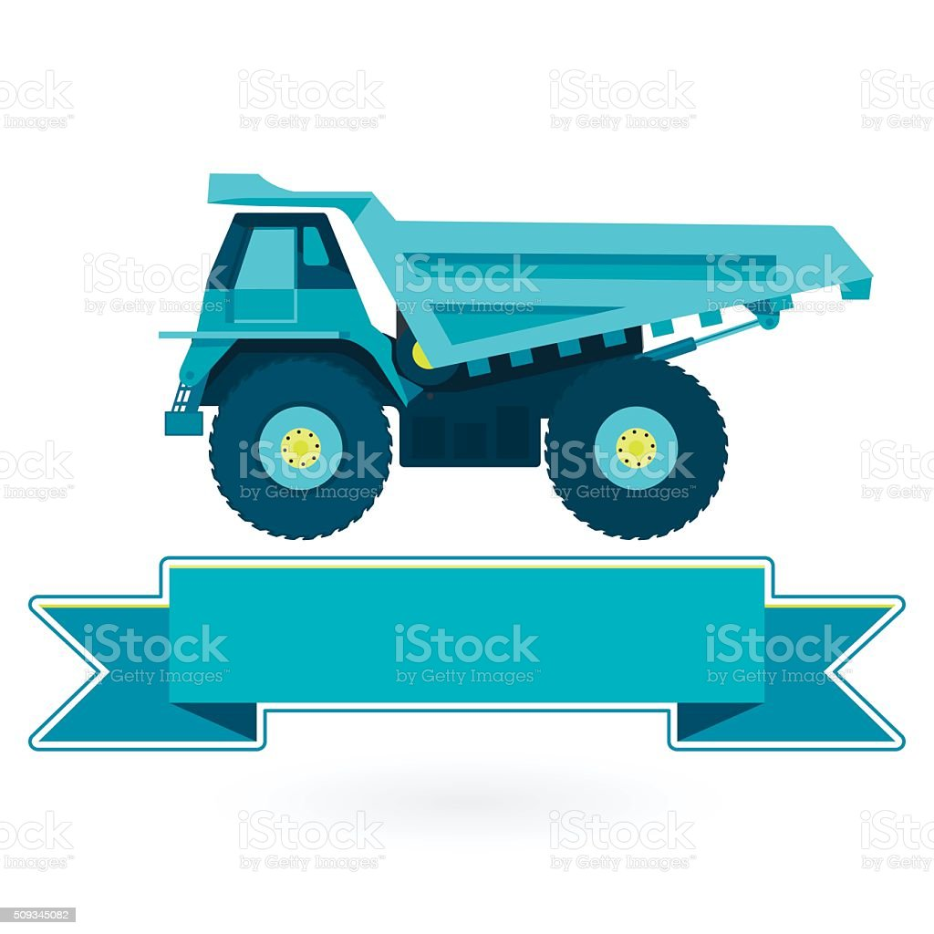 Blue big truck builds roads on white. Digging of material. vector art illustration