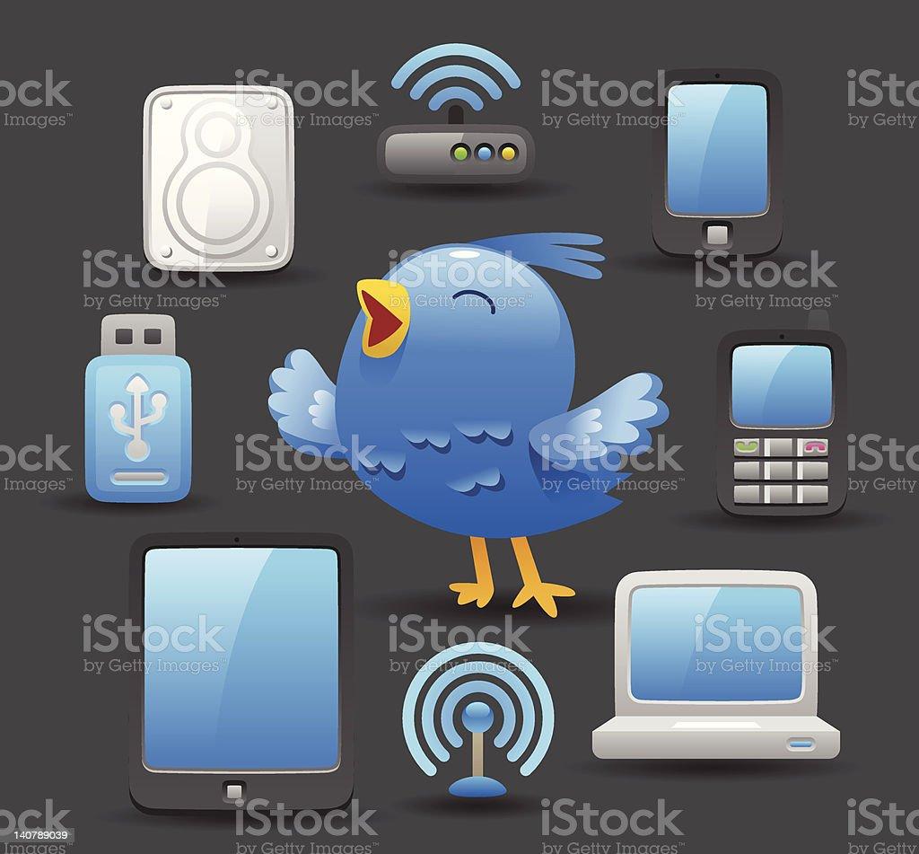 blue bird and computer royalty-free stock vector art